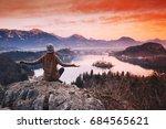 travel slovenia  europe. woman... | Shutterstock . vector #684565621