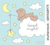 cute teddy bear on the cloud... | Shutterstock .eps vector #684568975