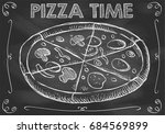 chalkboard pizza time with hand ... | Shutterstock .eps vector #684569899