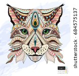patterned head of lynx   wild... | Shutterstock .eps vector #684575137