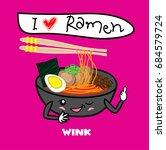 noodle ramen cartoon with egg... | Shutterstock .eps vector #684579724