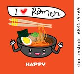 noodle ramen cartoon with egg... | Shutterstock .eps vector #684579769