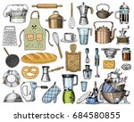 apron or pinaphora and hood ... | Shutterstock .eps vector #684580855