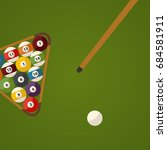 billiard green table and balls... | Shutterstock .eps vector #684581911