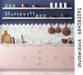 mockup interior kitchen in loft ... | Shutterstock . vector #684583591