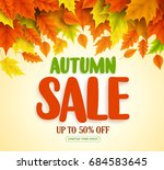 autumn sale text vector banner... | Shutterstock .eps vector #684583645