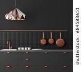 mockup interior kitchen in loft ... | Shutterstock . vector #684583651