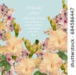 summer flowers blossom card... | Shutterstock .eps vector #684586447