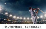 a male baseball player performs ... | Shutterstock . vector #684586684