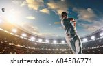 a male baseball player performs ... | Shutterstock . vector #684586771