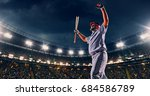 a male baseball player is happy ... | Shutterstock . vector #684586789