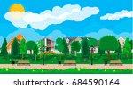 suburb concept  wooden bench ... | Shutterstock .eps vector #684590164