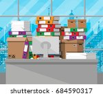 pile of paper documents and... | Shutterstock .eps vector #684590317