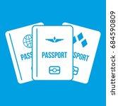 passports icon white | Shutterstock .eps vector #684590809