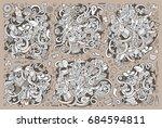 sketchy vector hand drawn... | Shutterstock .eps vector #684594811