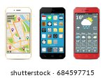 smart phones with apps icons ... | Shutterstock .eps vector #684597715