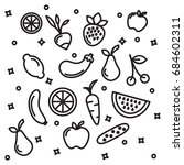 fruit and vegetable vector icon ... | Shutterstock .eps vector #684602311