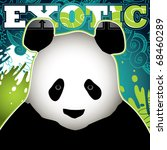 Designed exotic banner with panda. Vector illustration. - stock vector