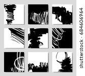 set of 6 ink brush pattern ... | Shutterstock .eps vector #684606964