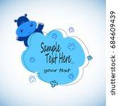 hippo  cartoon  cute  vector ... | Shutterstock .eps vector #684609439