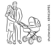 happy family with a stroller.... | Shutterstock .eps vector #684616981