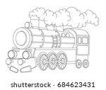 cartoon funny looking steam...   Shutterstock . vector #684623431