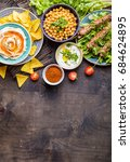 different middle eastern dishes ... | Shutterstock . vector #684624895