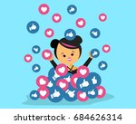 girl  receiving lots of likes... | Shutterstock .eps vector #684626314