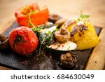 grilled vegetables. tomato ... | Shutterstock . vector #684630049