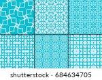 set of 6 geometric seamless... | Shutterstock .eps vector #684634705