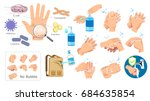 hand hygiene prevention without ... | Shutterstock .eps vector #684635854