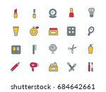 cosmetics set of thin line flat ... | Shutterstock .eps vector #684642661