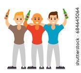 three best friends drink beer.... | Shutterstock .eps vector #684645064