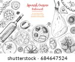 spanish cuisine top view frame. ... | Shutterstock .eps vector #684647524