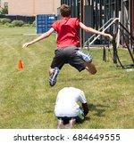 a high school kid plays... | Shutterstock . vector #684649555