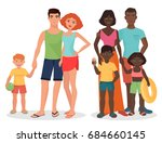 white and african black family... | Shutterstock . vector #684660145