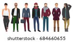 handsome and stylish men set.... | Shutterstock . vector #684660655