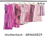 pink woman clothes on clothes... | Shutterstock . vector #684660829