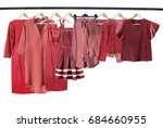 red woman clothes on clothes... | Shutterstock . vector #684660955