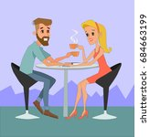 happy man and woman sitting at... | Shutterstock .eps vector #684663199