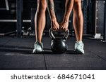 crossfit kettlebell training in ... | Shutterstock . vector #684671041