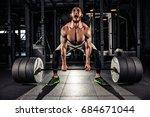 muscular men lifting deadlift... | Shutterstock . vector #684671044
