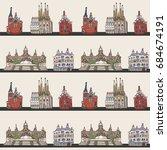 barcelona spain city doodle... | Shutterstock .eps vector #684674191