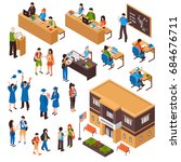 isometric set of students and... | Shutterstock .eps vector #684676711