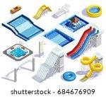 water park set people isometric ... | Shutterstock .eps vector #684676909