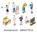 teenager hobby free time... | Shutterstock .eps vector #684677011