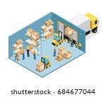 warehouse inside isometric... | Shutterstock .eps vector #684677044