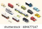 transport isometric set of... | Shutterstock .eps vector #684677167