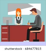 woman receptionist and... | Shutterstock .eps vector #684677815