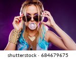 young fashionable girl in disco ... | Shutterstock . vector #684679675